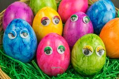 Colorful easter eggs with eyes Royalty Free Stock Photos