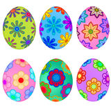 Colorful Easter Eggs with Floral Design. Illustration Stock Image