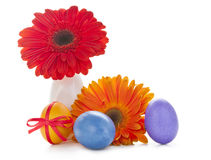 Colorful easter eggs with flowers Stock Images