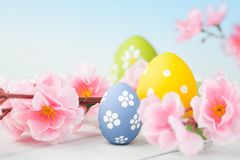 Colorful easter eggs and flowers Royalty Free Stock Photo