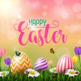Colorful Easter eggs with flowers and insects on the grass. Illustration of Colorful Easter eggs with flowers and insects on the grass Royalty Free Stock Images
