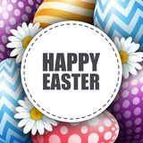 Colorful Easter eggs with flowers and round card. Illustration of Colorful Easter eggs with flowers and round card Royalty Free Stock Image