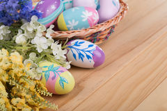 Colorful Easter Eggs and Flowers Royalty Free Stock Image