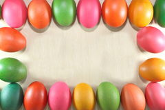 Colorful easter eggs frame on marble flooring background Stock Images