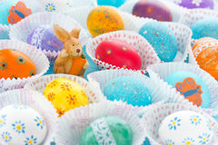 Colorful Easter eggs. Fun Easter egg design, ideas for dyeing and decorating Easter eggs Stock Photo