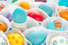 Colorful Easter eggs. Fun Easter egg design, ideas for dyeing and decorating Easter eggs Royalty Free Stock Photography