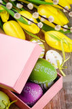 Colorful Easter eggs in gift box Royalty Free Stock Image