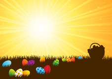 Colorful Easter eggs in the grass Stock Photo