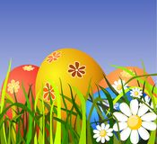 Colorful Easter eggs on grass Royalty Free Stock Photography