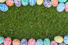 Colorful Easter Eggs, Grass background Royalty Free Stock Image