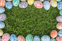 Colorful Easter Eggs, Grass background Stock Image