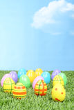 Colorful easter eggs in the grass Stock Images