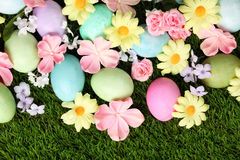 Colorful Easter eggs on grass with flowers Royalty Free Stock Photos