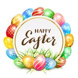 Card with colorful Easter eggs and grass. Colorful Easter eggs with grass and flowers. Round card and lettering Happy Easter, illustration Royalty Free Stock Images