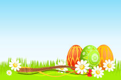 Colorful Easter eggs on grass Royalty Free Stock Image