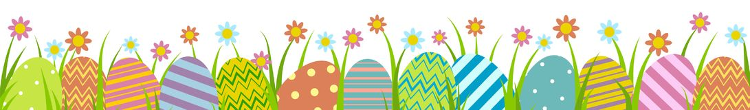 Easter eggs with grass. Colorful Easter eggs with grass on isolated on white Stock Images