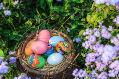 Colorful easter eggs in grass nest. Royalty Free Stock Images