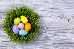 Colorful easter eggs in grass nest. On a wooden backgriund Stock Photos
