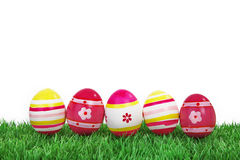 Colorful easter eggs with grass Stock Photos