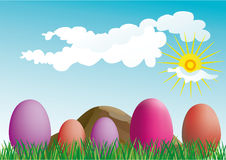 Colorful easter eggs on the grass- vector Stock Photography