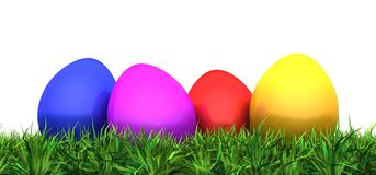 Colorful easter eggs in green grass 01. 3D easter eggs in green grass vector illustration