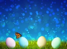 Colorful Easter Eggs on green grass Royalty Free Stock Photo