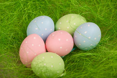 Colorful easter eggs. green grass Stock Photo