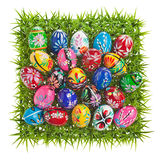 Colorful Easter Eggs on green grass Stock Image