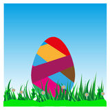 Colorful Easter eggs on green grass against the. Sky,for design of postcards vector illustration