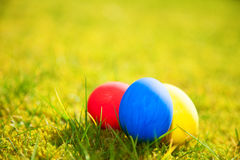 Colorful easter eggs in green grass Stock Photos
