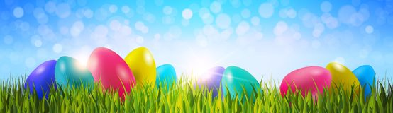 Colorful Easter Eggs On Green Grass Over Blue Bokeh Background Horizontal Banner. Vector Illustration Stock Image
