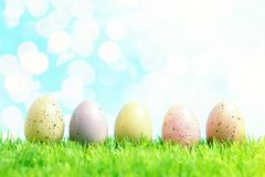 Colorful Easter eggs on green grass. Spring holidays concept stock photos