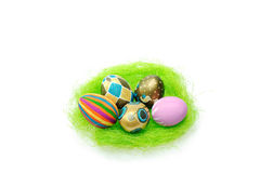 Colorful easter eggs in the nest Royalty Free Stock Photo
