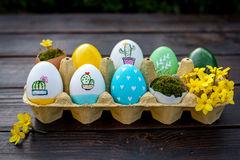 Colorful Easter eggs. In green, yellow and blue colors Royalty Free Stock Photos