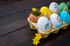 Colorful Easter eggs. In green, yellow and blue colors Stock Photography