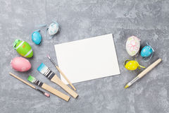 Colorful easter eggs and greeting card Royalty Free Stock Image
