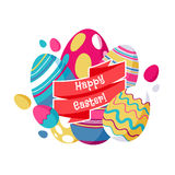 Colorful easter eggs greeting card illustration. Stock Photos