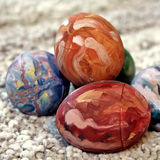 Colorful Easter eggs. Hand decorated easter eggs,close stock image