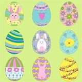 Colorful easter eggs. Hand drawn icon`s set. Eggs collection royalty free illustration