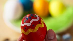 Colorful Easter Eggs Handmade, Paintbrush Draws Patterns stock video