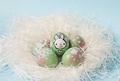 Decorated easter eggs. Colorful Easter eggs handpainted with floral decoration and a bunny, on a white nest. Pastel blue background. Perfect for your festive Stock Images