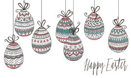 Colorful Easter eggs. Colorful hanging Easter eggs with detailed, hand drawn pattern Stock Photo