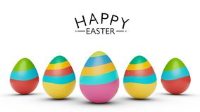 Colorful Easter eggs with happy Easter greetings 3d rendering. Colorful Easter eggs with happy Easter greetings isolated in a white background 3d rendering Stock Photo