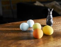 colorful easter eggs with happy easter word royalty free stock photography