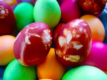 Colorful easter eggs homemade royalty free stock images