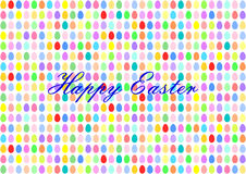 Colorful Easter eggs in horizontal rows with lettering in English Royalty Free Stock Photography
