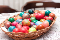 Colorful Easter eggs indoors Royalty Free Stock Photography
