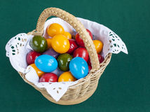 Colorful Easter eggs inside straw wicker Stock Photo