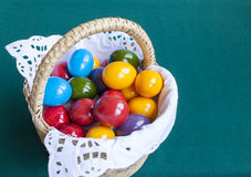 Colorful Easter eggs inside straw wicker Stock Images