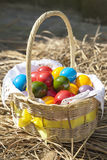 Colorful Easter eggs inside straw wicker, on straw Royalty Free Stock Photo